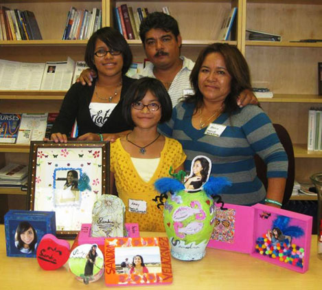 family at day of the dead craft day